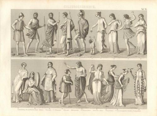 ; Kulturgeschichte TafelNr. 16. Historischer Stich von 1855. Kein Nachdruck. (Griechische Tracht)