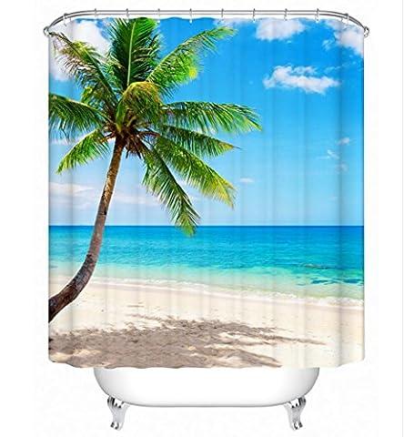 KKLL 3D Beach Palm tree Shower curtain Polyester Waterproof mildew Thickened Bathroom Semi shade curtain , 3 , 200*180cm
