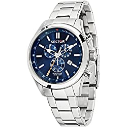 Sector No Limits 180 Men's Quartz Watch with Blue Dial Chronograph Display and Silver Stainless Steel Strap R3273690009
