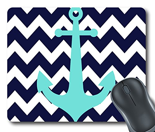 personality-design-mouse-mat-navy-blue-chevron-nautical-anchor-non-slip-rubber-mousepad-size-20cm-x-
