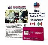 Prepaid-SIM-Karte - 8GB Internet-Daten USA, Kanada und Mexiko - Unbegrenzte Anrufe und Texte (15 Tage)