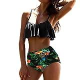 PAOLIAN Trajes de baño de Dos Piezas Bikini Sexy Mujer Verano 2018 Ropa de Playa Bañador Tankinis señora Impreso Floral y Rayas Volantes Sling Ropa de baño Ajustable Cintura Alta (XL, Negro)
