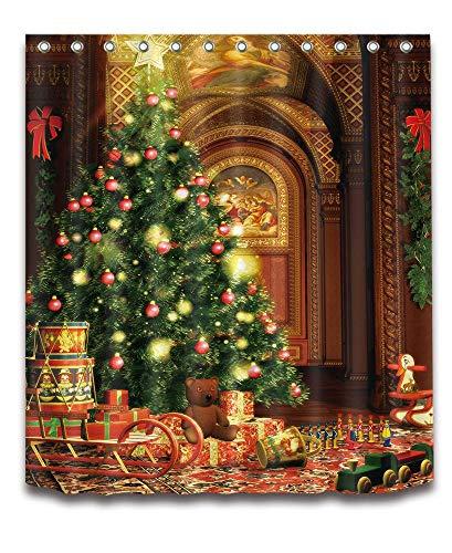 (LB Frohe Weihnachten Duschvorhang Haus Dekor/Weihnachtsbaum,Braunbär,Spielzeug Zug/Wasserdicht Polyester Gewebe Badezimmer Duschvorhang Set Mit Haken,150W x180H cm (60 x72 Zoll))