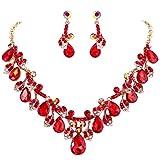 Clearine Damen Hochzeit Bridal Kristall Tropfen Cluster Blatt Vine Statement Halskette Dangle Ohrringe Rubin Rot Gold-Ton