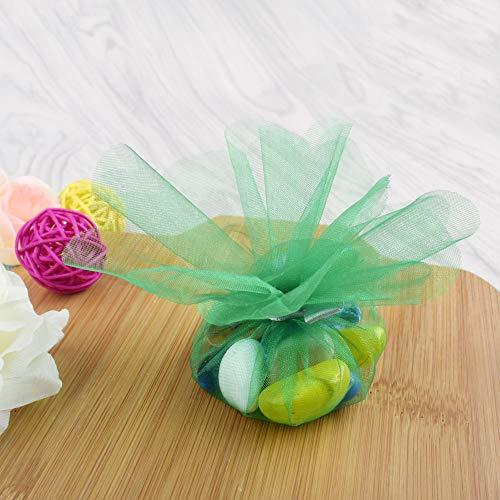 Gudotra 100pz velo di fata tulle organza verde tondo veletti per bomboniere confetti matrimonio(diametro 23cm)