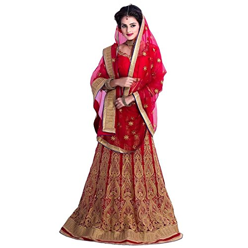 Polin Women's Red Colour Net Lehengas For Party Wear(POPLIN-LENG-05-RED_Red Colour)