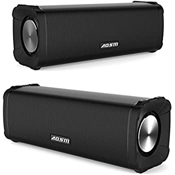 Dual Bluetooth Speakers Portable True Wireless Stereo Speaker Combo Pack 12W Output Travel Outdoor Rechargeable Boombox 4x Woofers Bluetooth 4.1 for MP3 Player, iPhone, iPad, LG, Samsung, Laptops, Smart phones