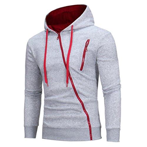 Kapuzenpullover YunYoud Herren Lange Ärmel Kapuzenpullover Kapuzenpulli Tops Jacke Mantel Outwear (L, Grau) (Gedruckt T-shirt-taschen)