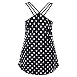 Ladies Camisole Vest Kanpola Womens Black White Wave Point Printed Plus Size Strappy Polka Dot Cami Tank Top Blouse by Kanpola