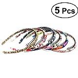 FRCOLOR cerchietti per capelli a pettine di raso floreale per Regalo delle donne e delle ragazze 5PCS (Colore casuale)