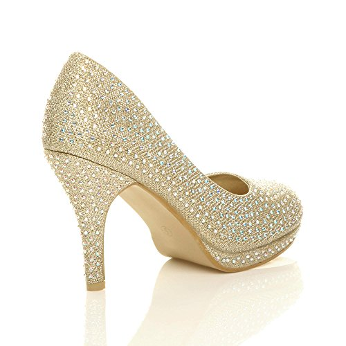 Vestido De Noche De Tacón Alto Para Mediados De Fiesta De Mujer Talla Simple Zapatos De Escote Tamaño De Tul De Oro Con Diamantes De Imitación