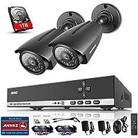 ANNKE Überwachungssystem CCTV System Videoüberwachung 4CH 720P DVR Recorder mit 2 Kameras 960P für innen und außen Bereich mit eingebaute 1TB Festplatte Nachtsicht zwischen 20-30 Meter