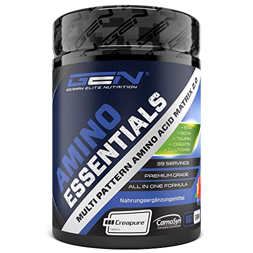 Amino Essentials Pulver 507 g - All-in-one Post Workout Recovery Shake mit Aminosäuren - EAA + BCAA + Creatin Creapure + Beta Alanin Carnosyn + Glutamin + Taurin - Waldfruchtgeschmack - Vegan -