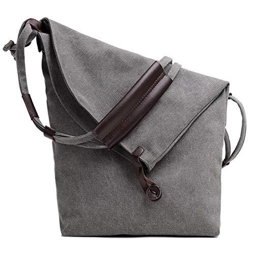 Canvas Umhängetasche Hobo Umhängetasche Handtaschen Lässig Messenger Bags Multifunktions Schule Einkaufstaschen für Damen Frauen mit Geschenk Geldbörse Brieftasche Münztüte Tasche (Gray) - Lässige Hobo