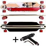 FunTomia® Longboard Skateboard Board Skaten Cruiser Komplettboard mit ABEC-11 High Speed Kugellager (Modell Freerider - Farbe Rot California+T-Tool)