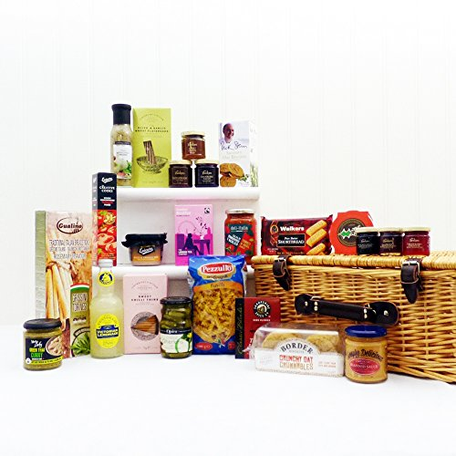 cesta de mimbre de regalo de lujo con productos delicatessen 24 - Regalo ideal para el cumpleaños, aniversario, boda
