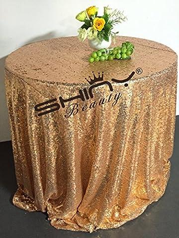 shinybeauty 96rond en or rose Sweetheart tablesequin gâteau Nappe revêtement à paillettes Décoration Mariage Bling cas Sparkle Party de draps