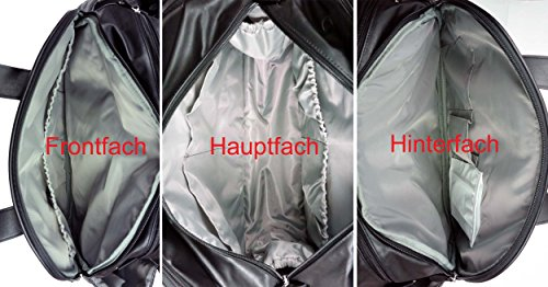 Wickeltasche Baninni Portofino aus Kunstleder, 12 Fächer+Thermofach+Unterlage+Kinderwagenhaken, Design:Black Schwarz