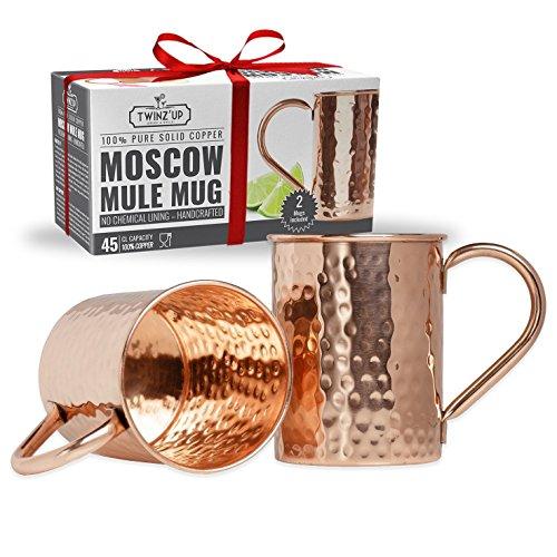 Moscow Mule Kupfer Becher - 2 Kupfertassen Twinz'Up - Gehämmert und handgefertigt - 45cl Fassungsvermögen - Großartig für jedes gekühlte Getränk - Perfektes Geschenk für Damen & Herren (Mugs - Tassen) (Kunststoff-einweg-bier-gläser)