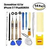 Esdabem kit Outil de réparation pour iPhone 7–Complete Premium Ouverture Pry outil Kits avec Premium de tournevis pour Apple 7, iPhone 7plus, 6Plus/6S/6/5S/5/5C/4S/4/SE, iPod, iTouch (lot de 14)