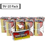 TDRFORCE 9 Volt Alkaline Batteries, Max 9V High Performance Battery Alkaline With 10 Count Pack