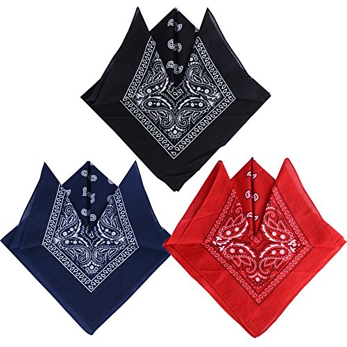 QUMAO (100% Baumwolle) 3stk, 4stk, 6 stk Paisley Bandana Halstuch 55 x 55 cm Kopftuch Armtuch Mischfarben Haar, Hals, Kopf Schal Nickituch Vierecktuch (Schwarz + Rot + Schwarzblau, 3 Stück) -