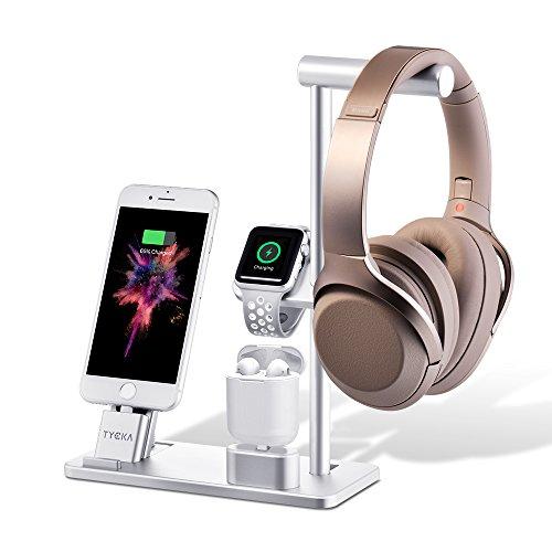 TYCKA Alluminio 4 in 1 Supporto di Ricarica per Apple, Stand per Apple Watch + Supporto per iPhone + AirPod Supporto di Ricarica + Supporto per Cuffie per Apple Watch Serie 3/2/1, iPhone X 8 iPad