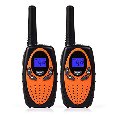 funkgeraete fuer kinder Funkprofi Walkie Talkie Set für Kinder PMR Funkgerät 8 Kanäle 2-Wege Radio Funkhandy Interphone mit LCD Display 2 Stück Orange