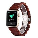 Apple Watch Band, Yafeite madera de ébano Correa de repuesto banda de muñeca para Apple Watch & Sport & Edition iWatch con corchete adaptador (38MM, R