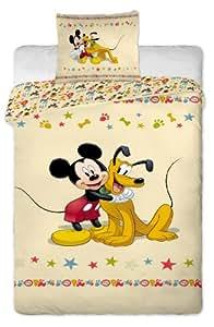 Parure de lit housse de couette Mickey et Pluto 100 % Coton