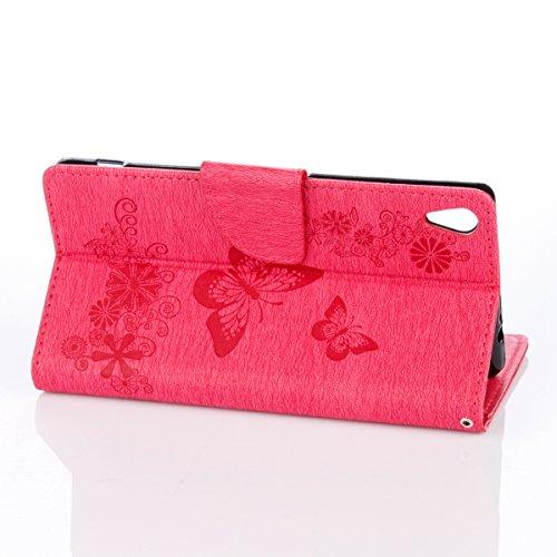 ISAKEN Custodia per Sony Xperia XA Ultra con Strap, Elegante borsa Tinta Unita Farfalla Design in Sintetica Ecopelle PU Pelle Protettiva Portafoglio Flip Case Cover con Supporto di Stand / Carte Slot  Farfalla: roseo