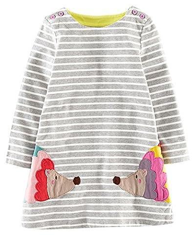 Kaily Mädchen Baumwolle Langarm T-shirt Kleid(Grau,5 Jahren) (Für Mädchen)