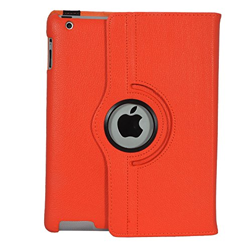 iPad 4 Cover, SPIDER Stand Flip Cover case 360 Degree Series PU Leather Premium 360 Degree Rotating SPIDER Stand Flip Cover case With auto wake sleep (Orange) 51IFrQaaioL