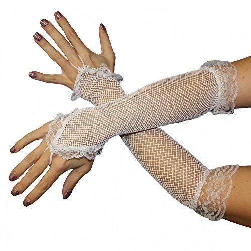 Foxxeo 35250 | Netzhandschuhe Handschuhe Netz weiß Lang Fingerling Finger Handschuh (Finger Handschuhe Lange Kostüm)