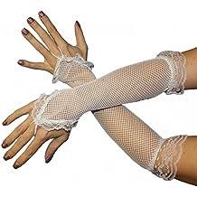 Foxxeo 35250 | Netzhandschuhe Handschuhe Netz weiß Lang Fingerling Finger Handschuh Fingerlos
