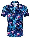 RAISEVERN Hemd der Männer, Blumen - Flamingo Printed Shirts Kurzarm Regular Fit beiläufige Hawaiia Hemd übersteigt Bluse 65-70kg