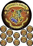 Kuchen stehen mit Harry Potter Hogwarts Design gedruckt, rund, nicht personalisiert,