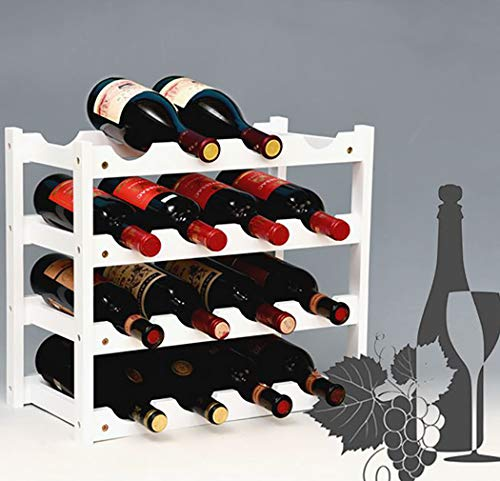Handmade wine rack nature bamboo solid wood 16 carbonization process bottles for home mounted bar, bamboowhite, 16