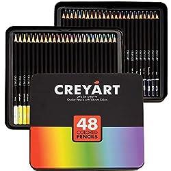 Creyart - Lápices de colores para niños y adultos, 48 unidades, no tóxicos, suaves y gruesos, con base de aceite, 48 colores en caja de hojalata