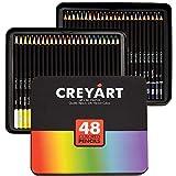 Crayons de couleur Lot de 48–Pré-affûtée non-toxique; les Fournitures d'art pour enfants et adultes–doux et épais Mène à base d'huile–48couleurs en boîte métallique–par Creyart