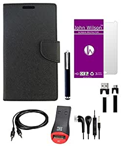 John Wilson Nokia Lumia 735 Diary with flap Premium Cover Mobile Premium Kit - Black + Screen Cover + Ear Phone + Aux Cable + Data Cable + Stylus +Card Reader
