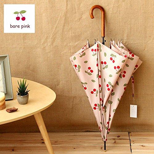 BBSLT Giapponese fresco di piccole dimensioni e semplice la stampa a colori serie maniglia automatico ombrello dipartimento di foresta con manico in legno ombrello,Cherry