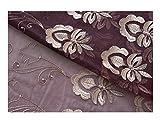 BW0057 Klassische Gardine im Europern-Stil, Bestickt, durchscheinend, für Schlafzimmer, Wohnzimmer (1 Panel, B 127 x L 213,4 cm, Violett) 1300191C3BYAVT15084-8512