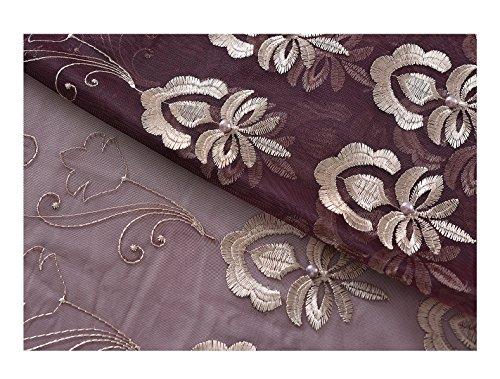 BW0057 Moderner Vorhang mit Blättermuster, Jacquard-Stangen, Dekoration für Wohnzimmer, Schlafzimmer und Esszimmer, 50 x 213 cm, Grün, Polyester-Mischgewebe, Violett (1), 50W x 95L Inch, 1 Panel (Vorhang-panels 108 Länge)