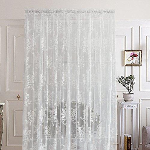 R. lang tende in voile con passanti per soggiorno, con stupendo motivo floreale, colore bianco, vendita al metro, tessuto, 108