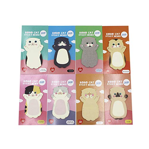 Multi Colored Cute Cartoon Cat Sticky Notes Kitten Self-Stick Memo Pad Sets Gift for Kids Students,Pack of 8