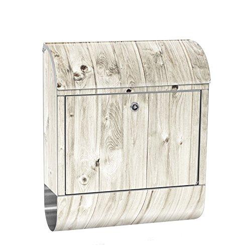 liwwing Briefkasten Edelstahl mit Motiv und Zeitungsfach, Zeitungsrolle als XXL Design Wandbriefkasten | Holzoptik Holz Holzpaneel weißes Holz | no. 0091