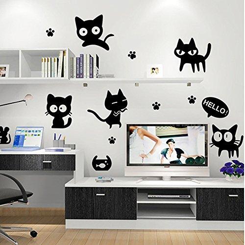 Wopeite Wandaufkleber Toilettendeckel Aufkleber Black Cat Decals Removable DIY Dekoration Pet Katzen Liebe Familie f¨¹r Baby Kids Kinderzimmer Zimmer K¨¹che Wohnzimmer Schlafzimmer Badezimmer