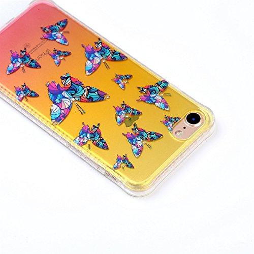 iPhone 7 Custodia Diamante Bling,iPhone 7 Cover in Silicone,Etsue 2017 Neo Disegni Donna Ragazza Cristallo Bling Scintillante Diamante Bella Elegante Romantico Stella Modello Trasparente Flessibile Tp Farfalla