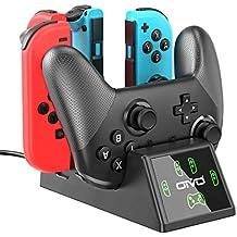 OIVO Base de Carga para Nintendo Switch Joy-con e Mandos, Soporte Carga 5 en 1 Cargador para Nintendo Switch con Indicador LED